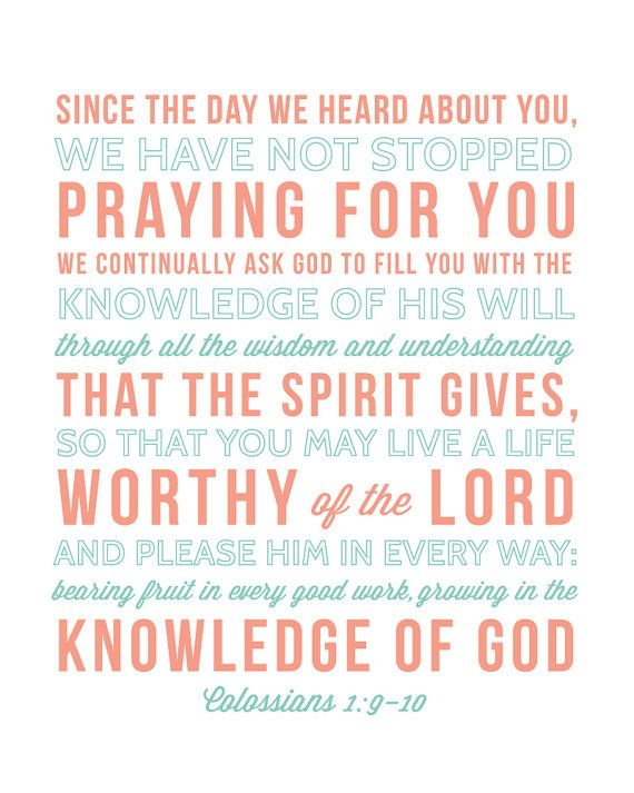 """Nursery bible verse print Colossians 1:9-10 by MeganWrightDesignCo, $18.00  """"Since the day we heard about you, we have not stopped praying for you...""""#coral #turquoise #bibleverse"""