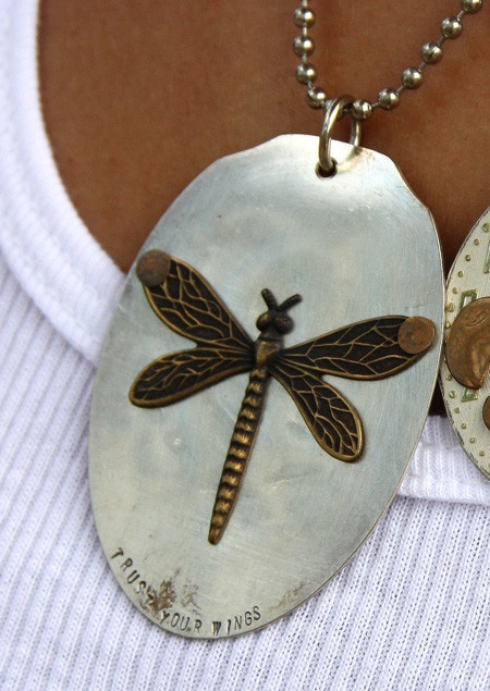"""dragonfly """"trust your wings"""" recycled necklace from Junk Gypsy"""