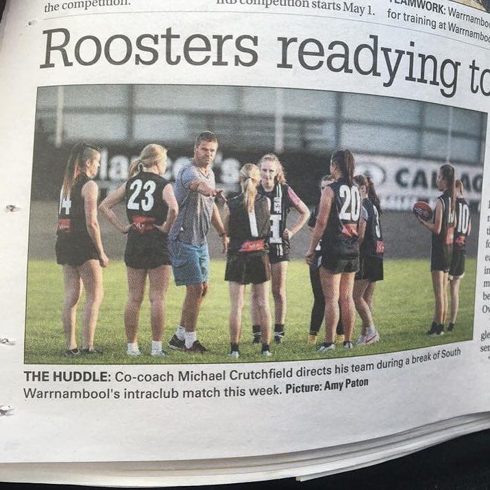 I'm in the paper! Woo #paper #footy #football #roosters #14 #farleft #left #veryleft #me #shaved #head #hair #girls #womensfooty #tough #ready #game #news #training #sesh #dirty #contact #sport #fit #fitness #health #warrnambool #fun #yay @destinationwarrnambool by hodg92