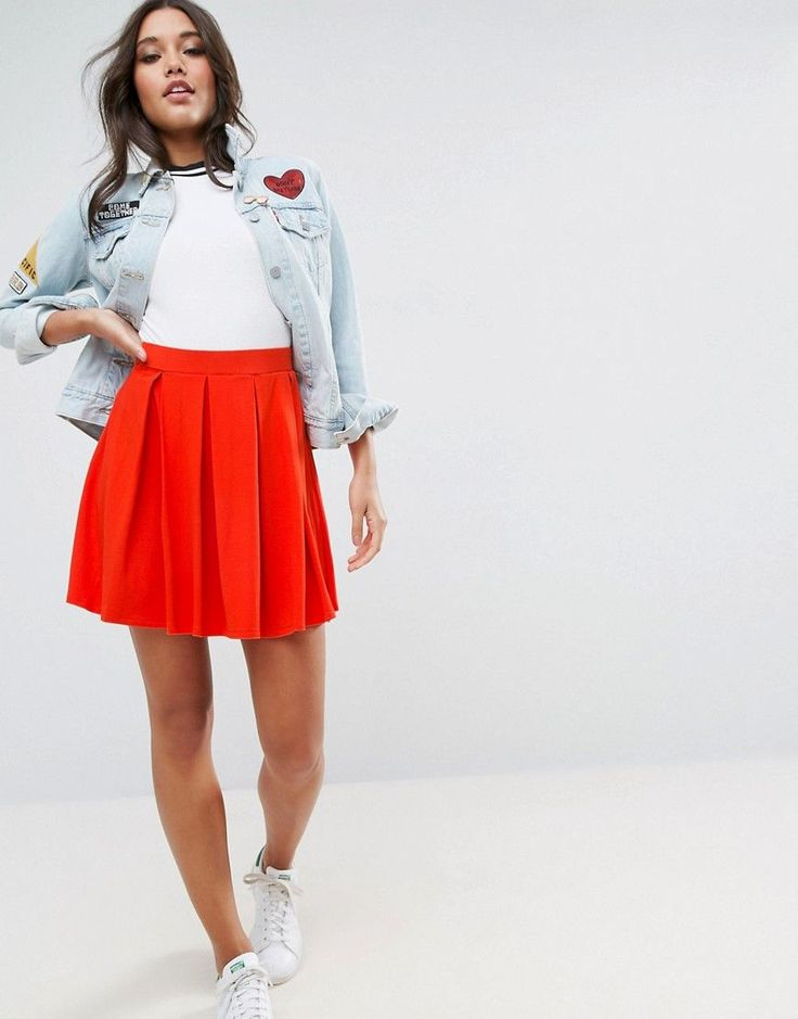 ASOS Mini Skater Skirt with Box Pleats - Red