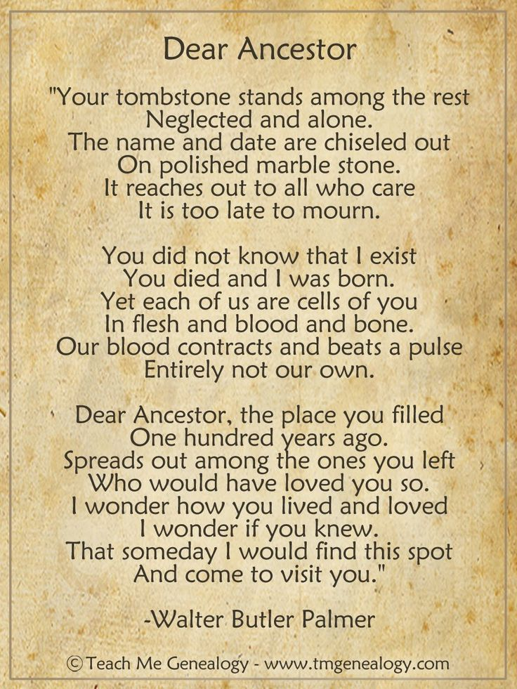 "Samhain ★ Day Of The Dead ★ Ancestors  | ""Dear Ancestor"" Poem by Walter Butler Palmer"