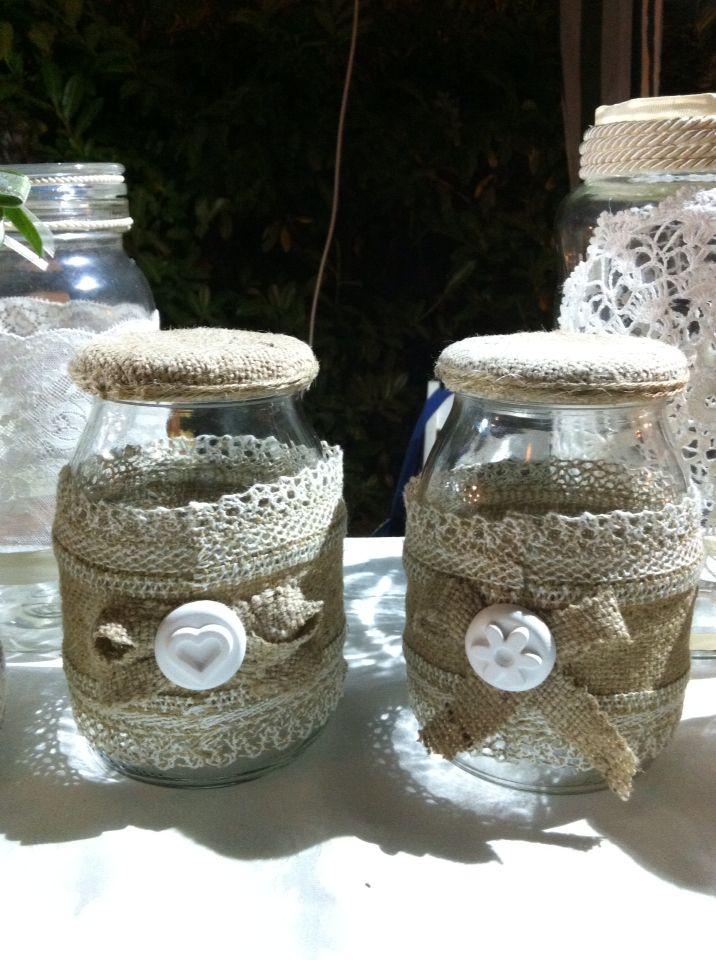 Barattoli decorati con passamaneria e gessetti profumati