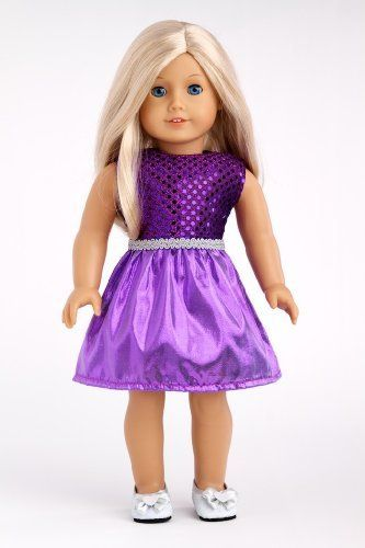 Sugar Plum - Sparkling purple holiday party dress with matching silver slippers - Clothes for American Girl Dolls  Price : $19.97 http://www.dreamworldcollections.com/Sugar-Plum-Sparkling-matching-slippers/dp/B004OURYIS