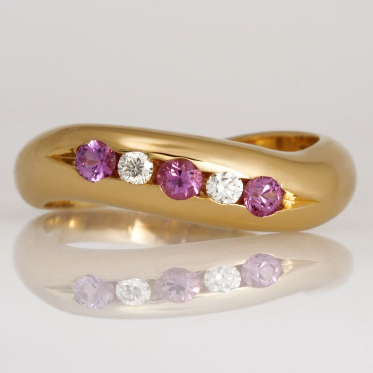Robet Paul Jewellery Handmade pink sapphire and white diamond 18ct yellow gold eternity ring www.robertpaul.com.au