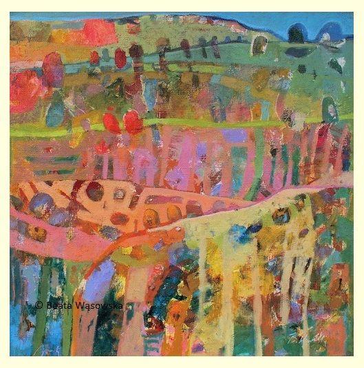 Beata Wąsowska, malarstwo Doliny, 80x80cm, olej na płótnie nr kat. 24-86 [2004] #art  #womensart #polishart #malarstwo #malarstwoPolskie #krajobraz #malarstwoKobiet