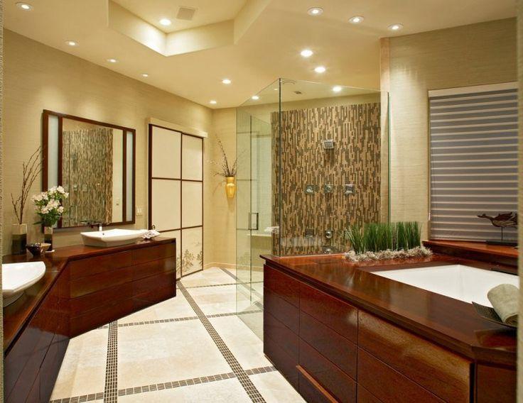 dco salle de bain zen mobilier en bois faux plafond et spots encastrables - Faux Plafond Salle De Bain