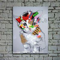 Кошка картина маслом На Холсте Стены Искусства декоративные Панно Картины Для Гостиной Холст Поп-арт современные аннотация ручная роспись