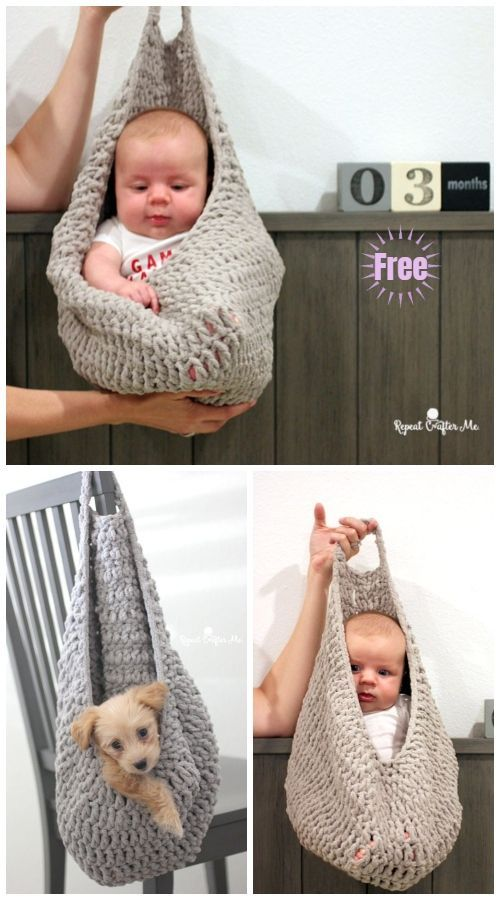 Crochet Hanging Sack Basket Kostenlose Häkelanleitung – #Baby