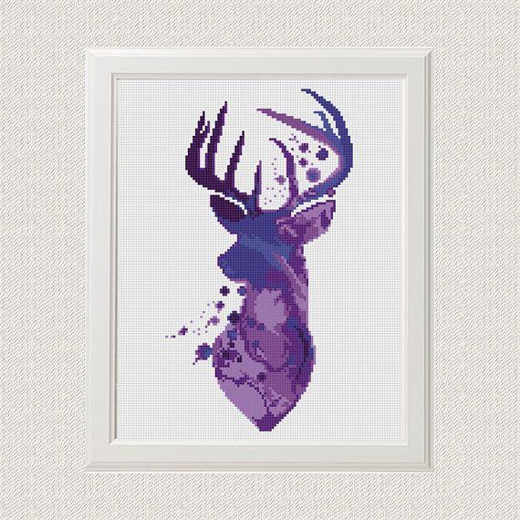 Acquerello Cervo Punto croce pdf modello Deer pattern foresta Woodland Animals Moderno Punto croce