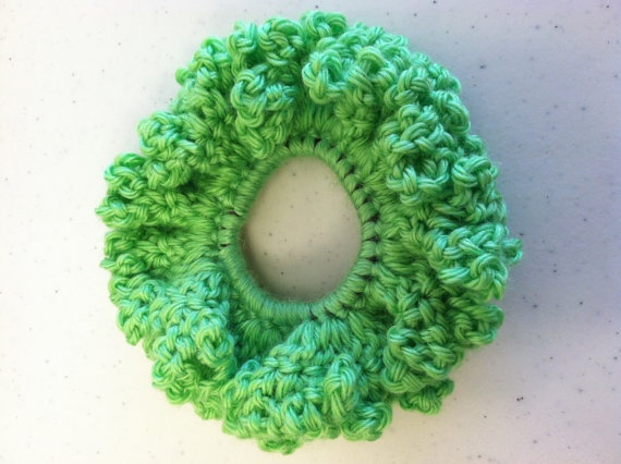 Lime Green Scrunchie / Green Pony Tail Holder / by tinybabylady, $5.50
