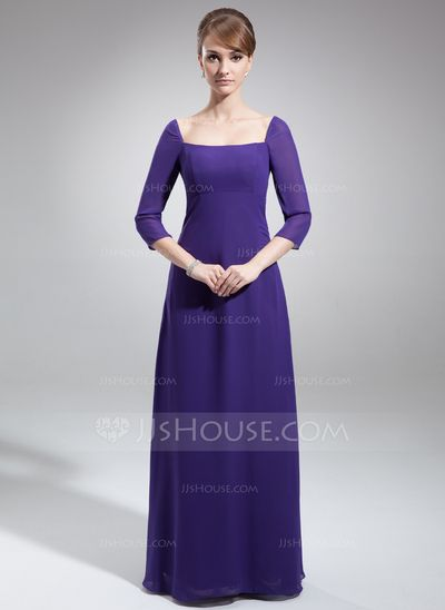 Mother of the Bride Dresses - $129.99 - Sheath/Column Square Neckline Floor-Length Chiffon Mother of the Bride Dress (008022553) http://jjshouse.com/Sheath-Column-Square-Neckline-Floor-Length-Chiffon-Mother-Of-The-Bride-Dress-008022553-g22553