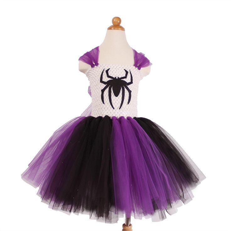 Spider Pattern Cartoon Tutu Dress Kids Girls Princess Dresses Tulle Girl Party Dress For Children Christmas Halloween Costume