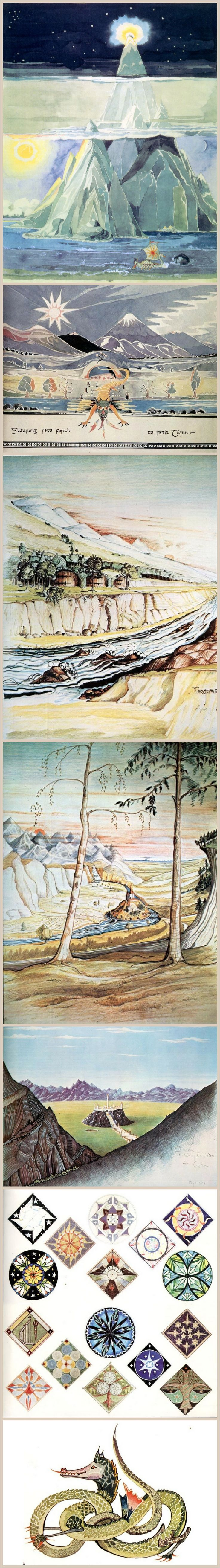 Tolkein's own paintings for The Silmarillion. So he's a talented painter as well. Is there no end to this man's genius?