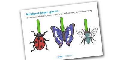 Writing Finger Spacers (Minibeast) - Finger spacers, finger space, writing aid, minibeast, sentence structure, finger, space, writing space, space aid, finger space aid