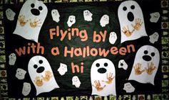 #bulletin board #preschool #kids #toddlers #ghosts flying by halloween ghosts classroom idea