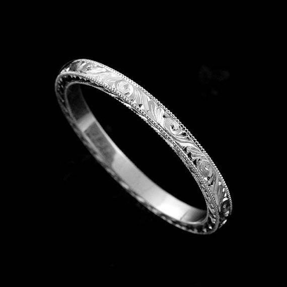 Eternity Platinum 950 Flat Hand Engraved Crafted And Milgrain Art Deco Style Straight Delicate Thin Wedding Band 1.9mm Wide
