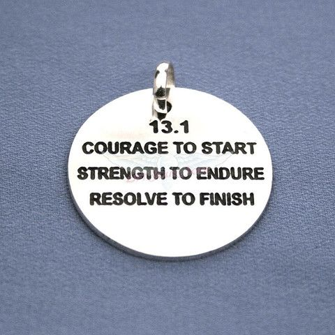 Running, Marathon and Triathlon Jewelry and Accessories that Lift Your Soul! Lift Your Sole, Atlanta, Ga — 13.1 Courage to start, Strength to endure, Resolve to finish