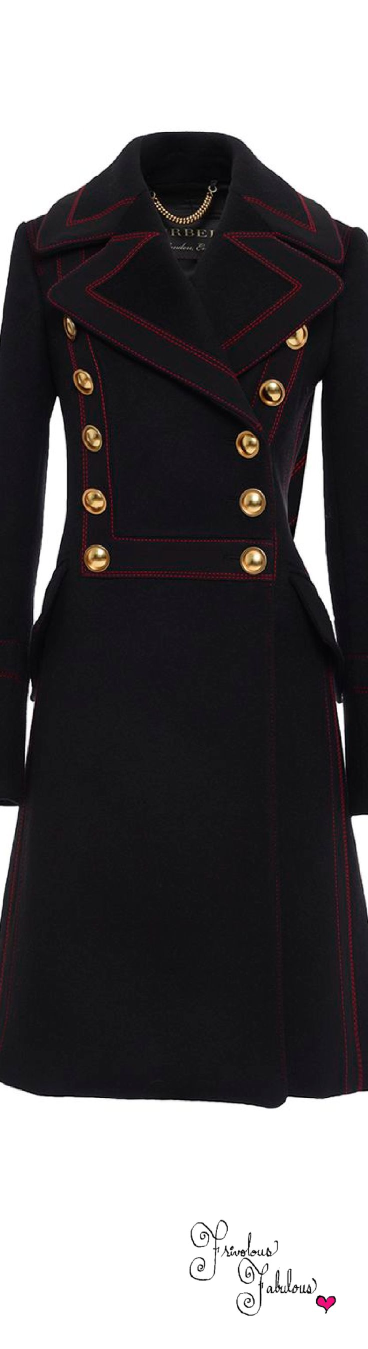 Frivolous Fabulous - Burberry Double Breasted Luggage Stitch Military Coat Pre Fall 2016
