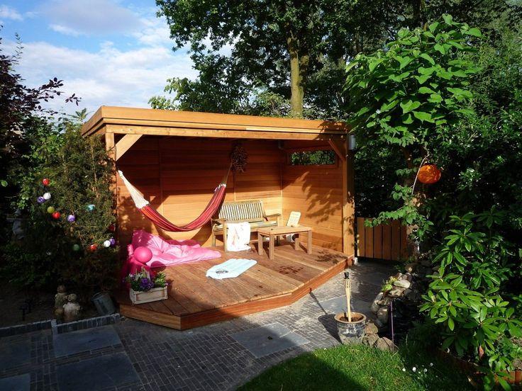 Vierkant prieel met platdak 350cm x 200cm met gesloten wanden. Heerlijk plekje voor een hangmat.