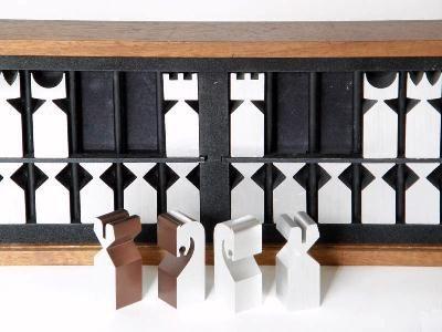 Modernist extruded aluminium chess pieces, by Austin Enterprises