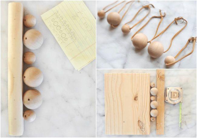 Basteln mit Holz -schlüsselbrett-selber-machen-holzperlen-kugel
