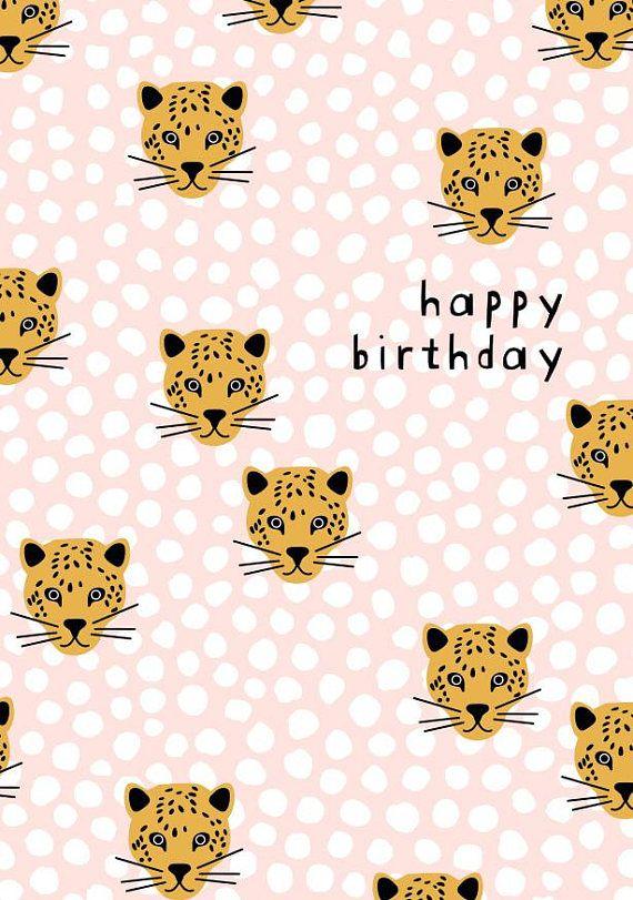 Gelukkige Verjaardag Panther Wenskaart W Envelop Print Patterns