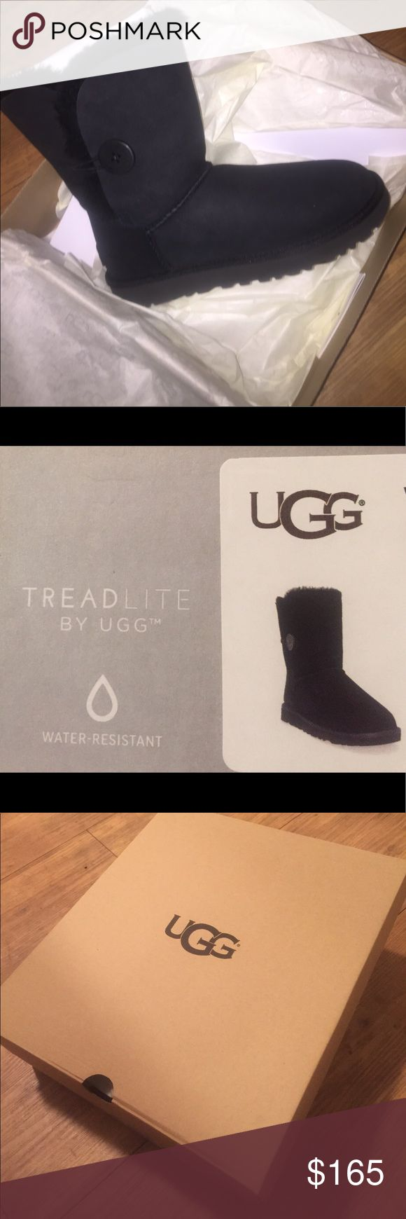Black Ugg boots-- NEW never worn!! Bailey Button II black Uggs - super warm and comfy, new never worn!! UGG Shoes Winter & Rain Boots