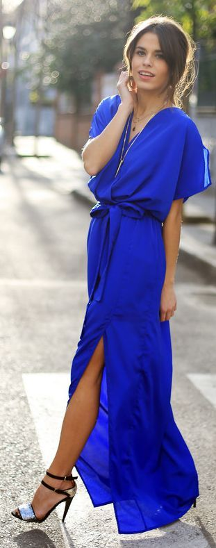 A kimono style dress can be worn year round—even in this bold cobalt color. Try it with a cropped jacket and heeled ankle boots in the fall.