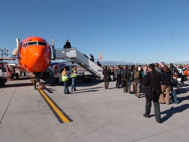Mango Airlines plane being boarded in Cape Town