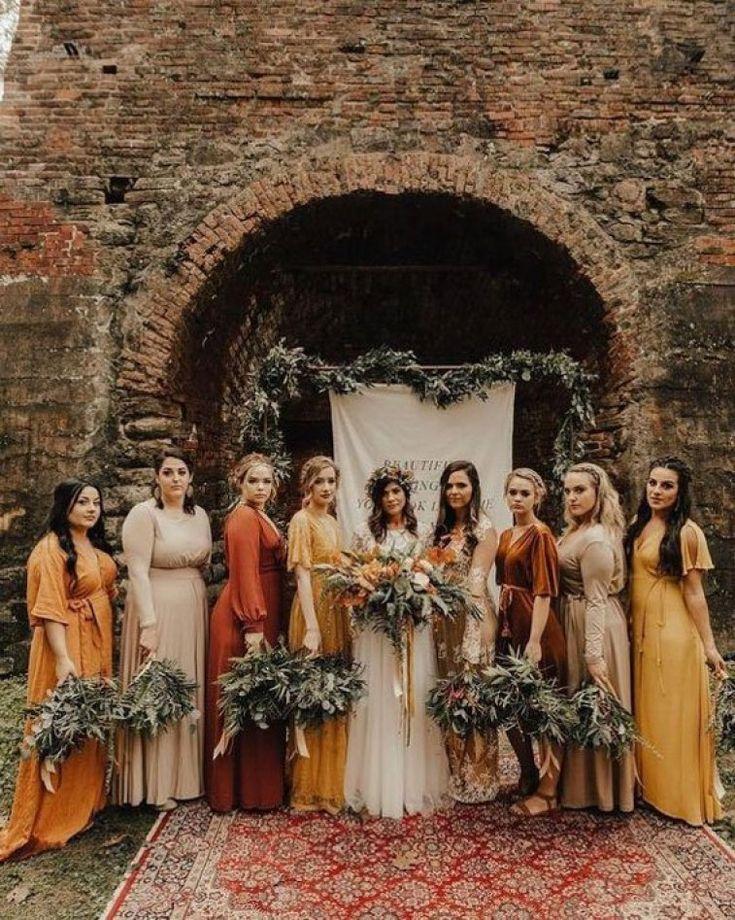 fall color bridal dresses