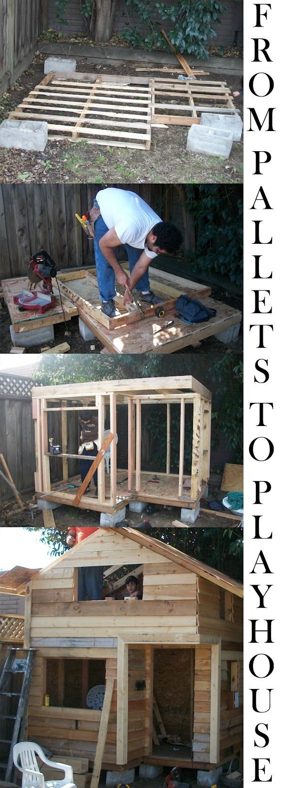 Pallet Playhouse on cinder blocks