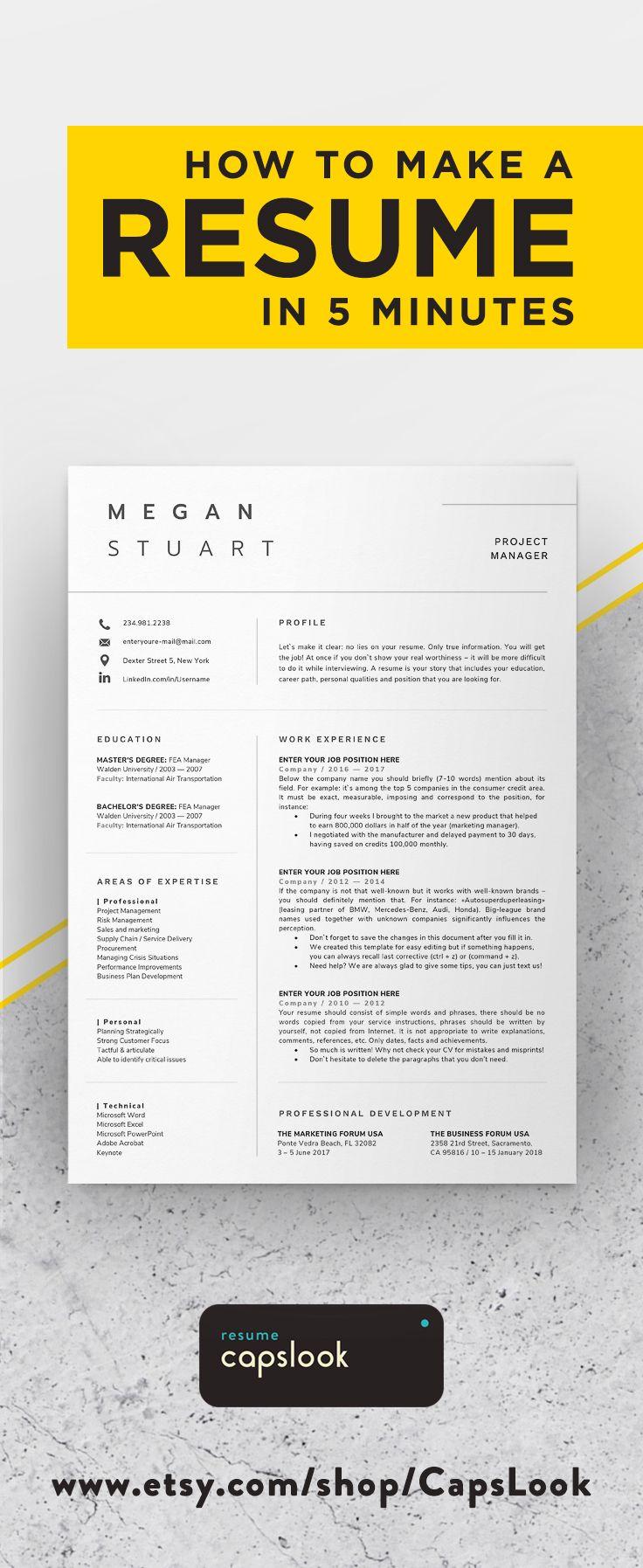 resume template professional resume 1 page resume modern resume cv