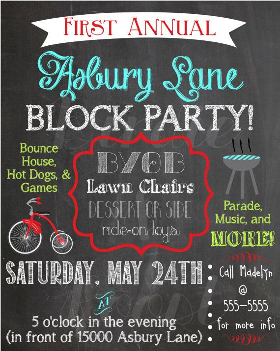 Custom Summer Chalkboard Block Party Invitation