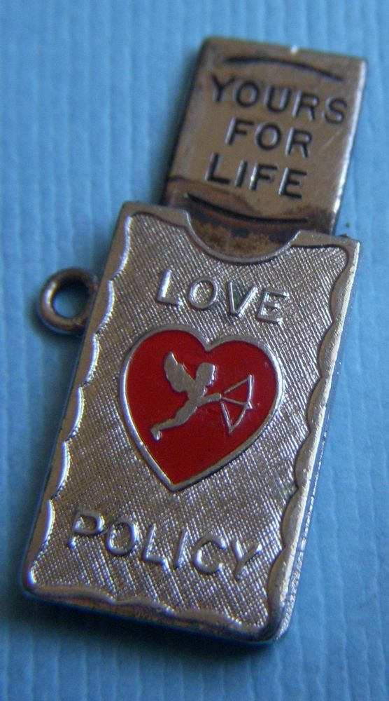 Vintage Movable Enamel Wells Love Policy Cupid Yours for Life Sterling Charm   eBay