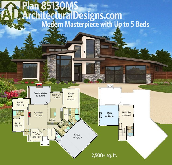 208 best modern house plans images on pinterest modern for Modern 5 bedroom house floor plans