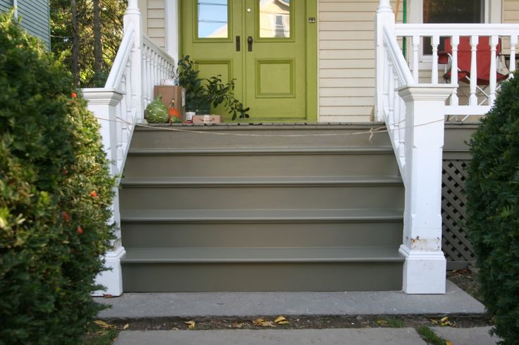 painted exterior stairs  gray steps with white railing and