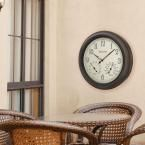 18 in. H x 18 in. W Outdoor Wall Clock with 2-Step Metal Case, Off White