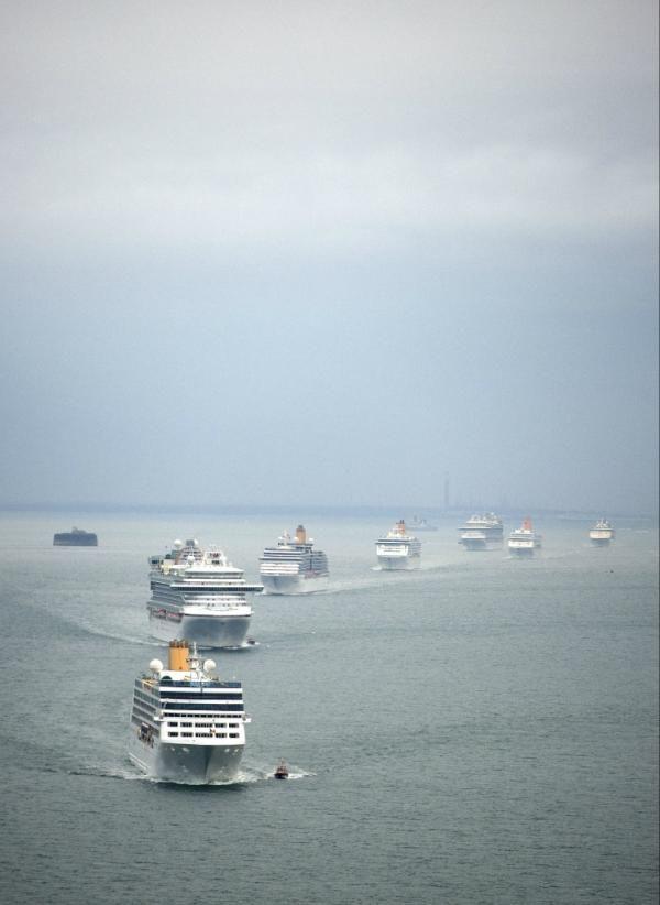 All seven ships in #GrandEvent procession