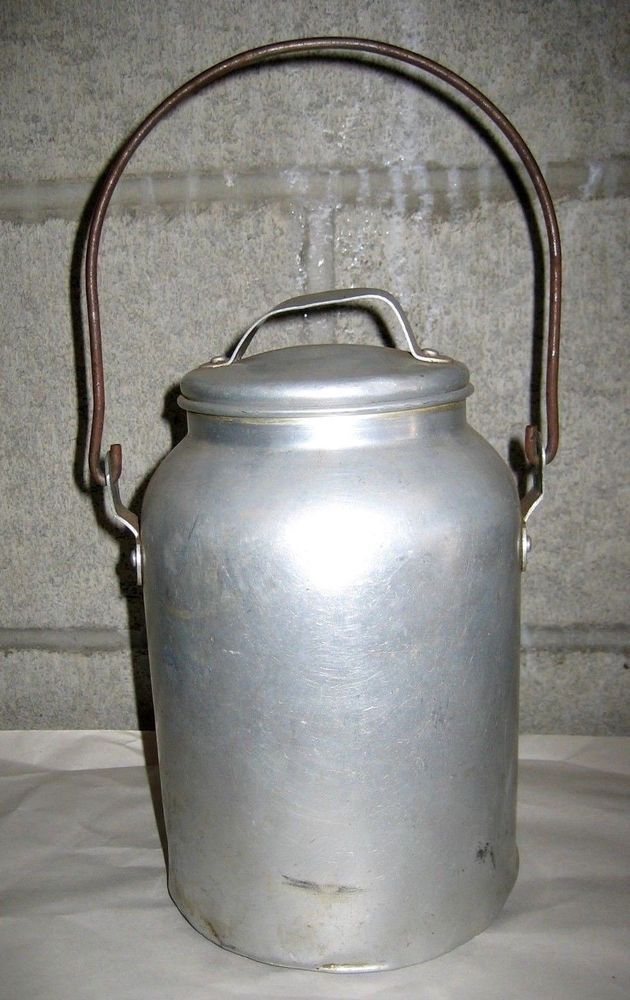 """VTG WWII era """"Pure Aluminum"""" Water Canteen with Handle - Canister Pitcher Flask  US $14.95 Used in Collectibles, Militaria, WW II (1939-45)"""