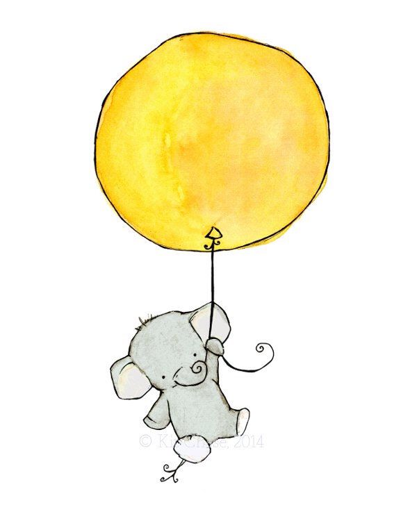 Nursery Art -- Elephant Balloon -- Art Print by trafalgarssquare on Etsy https://www.etsy.com/listing/62431632/nursery-art-elephant-balloon-art-print