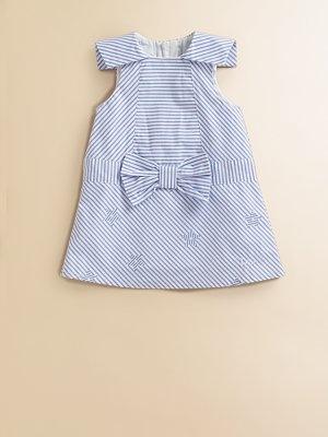 Cute little girl dress. Stripes, bow, sleeves.