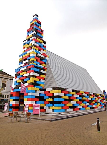 Unique building in the Netherlands constructed out of giant LEGO bricks