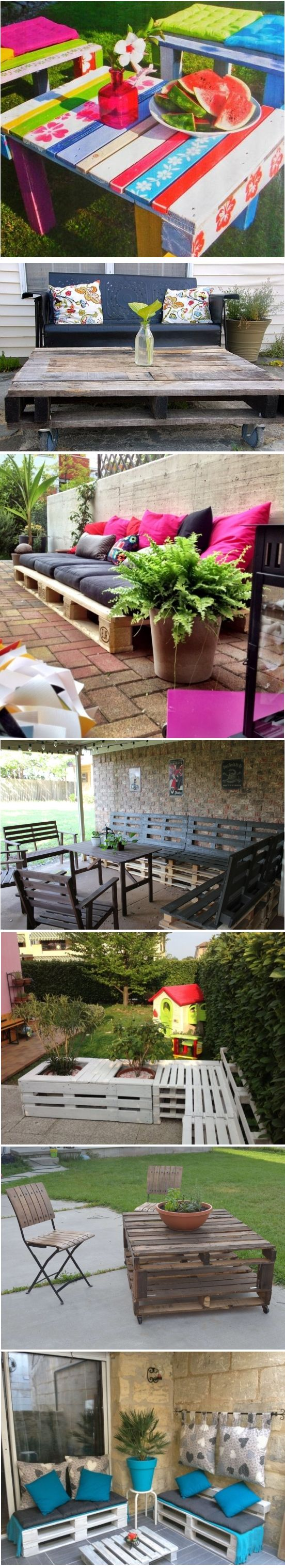DIY outdoor wooden pallets furniture