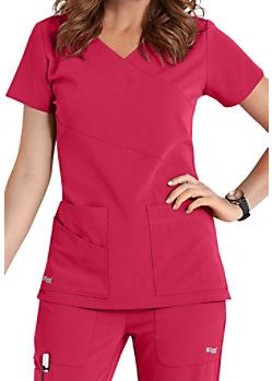 Grey's Anatomy Signature 3 Pocket Wrap Detail Scrub Tops