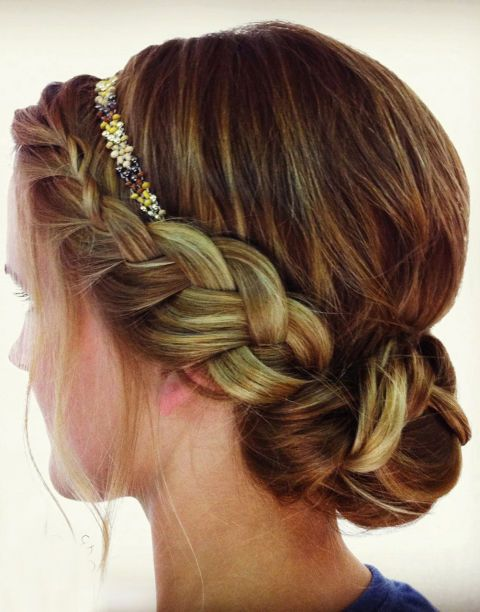 BRAID AND HEADBAND- This romantic style looks like it takes forever, but an elastic headband does most of the work. With these savvy solutions from beauty bloggers, you can create braided and twisted updos that only look like they take hours and tons of skill to create.