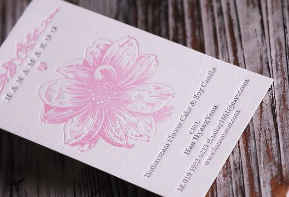 100 Custom Extra-Thick Letterpress Business Card with Edge Painting (Lbon), Flower Printing Name Card.