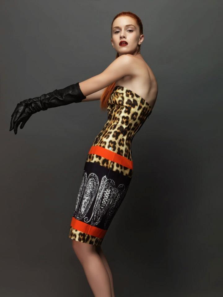 Mixed patterns dress.