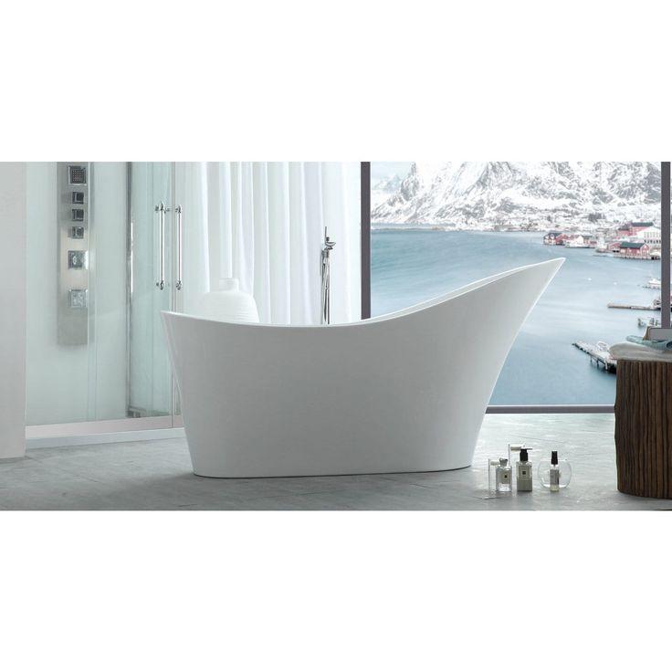 HelixBath Caracalla Modern White Freestanding Slipper Bathtub (Bathtub),  Size 66 To 71 Inches