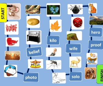 The boardgame practices Noun Plurals, mostly irregular. Students in pairs or groups use dice and take turns making the nouns in the pictures plural and making sentences with them (another op