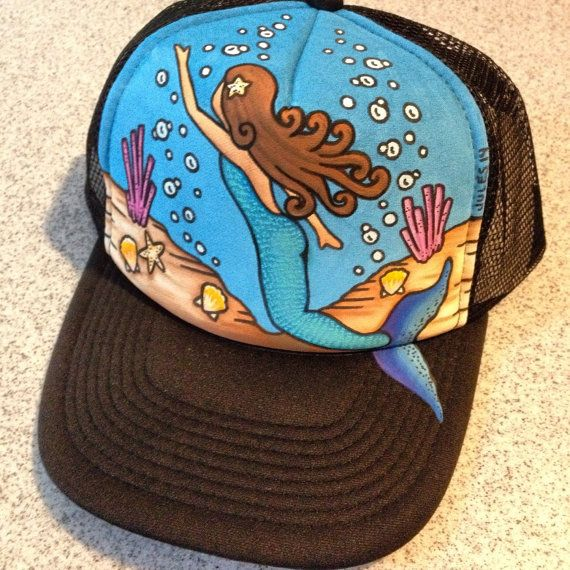 Swimming mermaid handpainted trucker hat by JulesJewelsJewelry mermaid ocean beach sea summer surf surfing girl bikini starfish coral reef tropical hawaii Costa Rica nj lbi Florida keys key west
